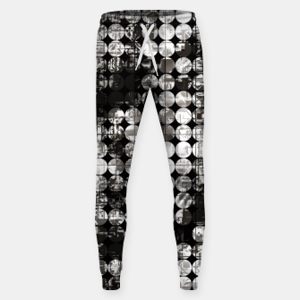 Miniaturka vintage psychedelic circle pattern painting abstract background in black and white Sweatpants, Live Heroes