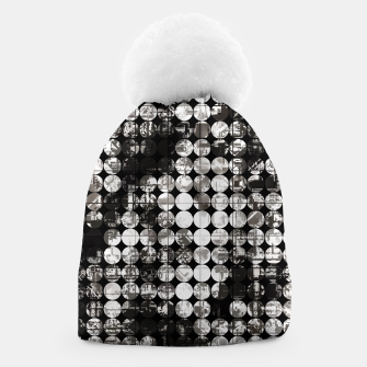 Miniaturka vintage psychedelic circle pattern painting abstract background in black and white Beanie, Live Heroes