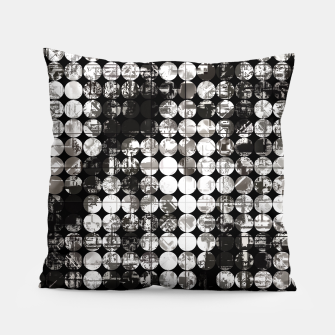 Miniaturka vintage psychedelic circle pattern painting abstract background in black and white Pillow, Live Heroes