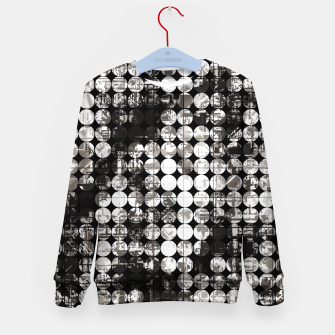 Miniaturka vintage psychedelic circle pattern painting abstract background in black and white Kid's sweater, Live Heroes