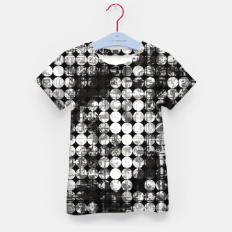 Miniaturka vintage psychedelic circle pattern painting abstract background in black and white Kid's t-shirt, Live Heroes