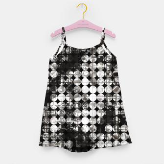 Miniaturka vintage psychedelic circle pattern painting abstract background in black and white Girl's dress, Live Heroes