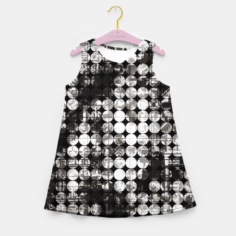 Miniaturka vintage psychedelic circle pattern painting abstract background in black and white Girl's summer dress, Live Heroes