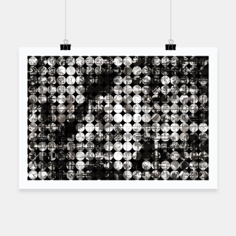 Miniaturka vintage psychedelic circle pattern painting abstract background in black and white Poster, Live Heroes