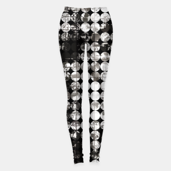 Miniaturka vintage psychedelic circle pattern painting abstract background in black and white Leggings, Live Heroes