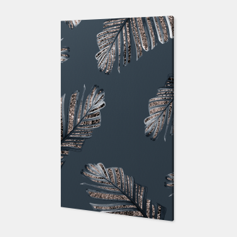 Thumbnail image of Banana Leaves Rose Gold Glitter Glam #1 #shiny #tropical #decor #art  Canvas, Live Heroes
