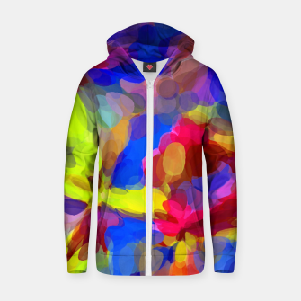Miniatur circle pattern abstract background in blue yellow red pink Zip up hoodie, Live Heroes