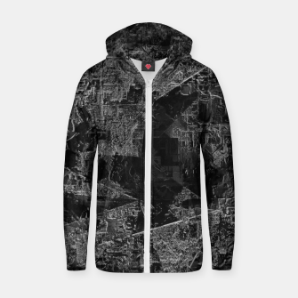 Miniatur psychedelic painting texture abstract background in black and white Zip up hoodie, Live Heroes