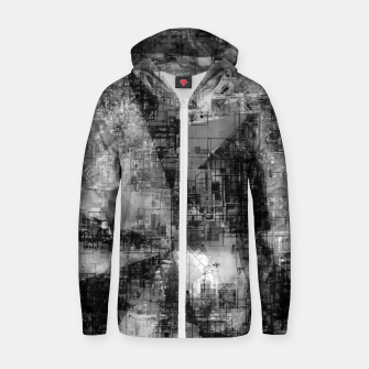 Miniatur psychedelic geometric triangle pattern abstract background in black and white Zip up hoodie, Live Heroes