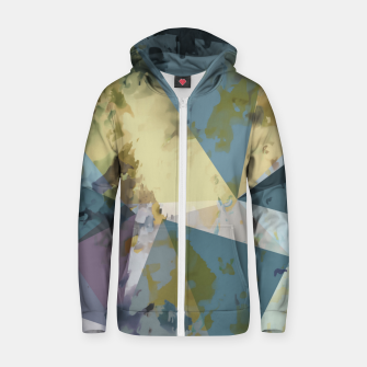 Miniatur psychedelic geometric triangle polygon pattern abstract in blue yellow pink Zip up hoodie, Live Heroes
