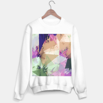Miniature de image de psychedelic geometric triangle polygon pattern abstract in pink green brown blue Sweater regular, Live Heroes