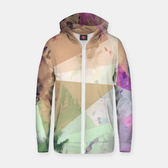 Miniature de image de psychedelic geometric triangle polygon pattern abstract in pink green brown blue Zip up hoodie, Live Heroes
