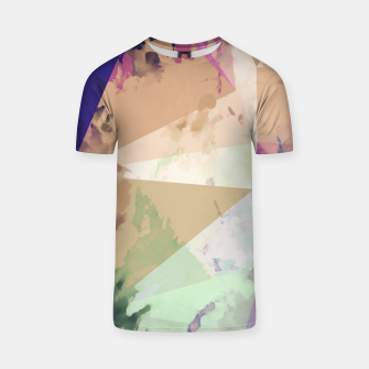 Miniature de image de psychedelic geometric triangle polygon pattern abstract in pink green brown blue T-shirt, Live Heroes