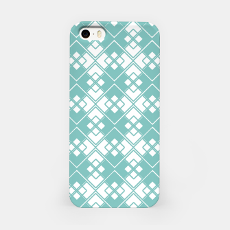 Miniature de image de Abstract geometric pattern - blue and white. iPhone Case, Live Heroes