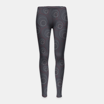 Thumbnail image of Red Blue and Dark Blue Overlaying Circles on Grey Girl's leggings, Live Heroes