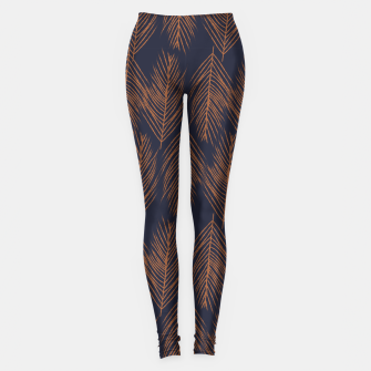 Thumbnail image of Rust Branches on Dark Blue Leggings, Live Heroes