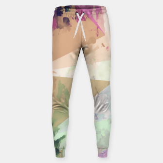 Miniature de image de psychedelic geometric triangle polygon pattern abstract in pink green brown blue Sweatpants, Live Heroes