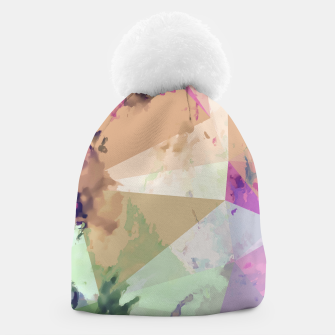 Miniature de image de psychedelic geometric triangle polygon pattern abstract in pink green brown blue Beanie, Live Heroes