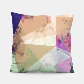 Miniature de image de psychedelic geometric triangle polygon pattern abstract in pink green brown blue Pillow, Live Heroes