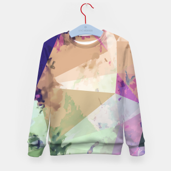 Miniature de image de psychedelic geometric triangle polygon pattern abstract in pink green brown blue Kid's sweater, Live Heroes