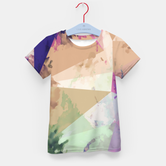 Miniature de image de psychedelic geometric triangle polygon pattern abstract in pink green brown blue Kid's t-shirt, Live Heroes