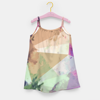 Miniature de image de psychedelic geometric triangle polygon pattern abstract in pink green brown blue Girl's dress, Live Heroes