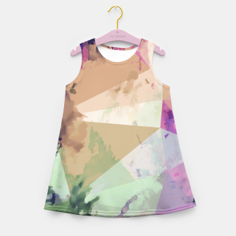 Miniature de image de psychedelic geometric triangle polygon pattern abstract in pink green brown blue Girl's summer dress, Live Heroes