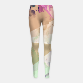 Miniature de image de psychedelic geometric triangle polygon pattern abstract in pink green brown blue Girl's leggings, Live Heroes