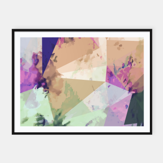Miniature de image de psychedelic geometric triangle polygon pattern abstract in pink green brown blue Framed poster, Live Heroes