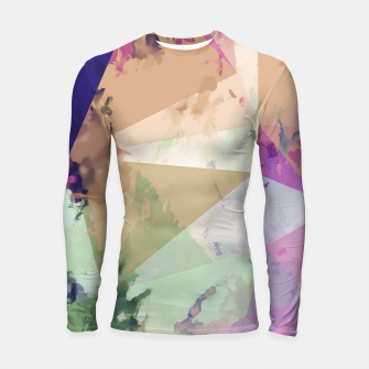 Miniature de image de psychedelic geometric triangle polygon pattern abstract in pink green brown blue Longsleeve rashguard , Live Heroes