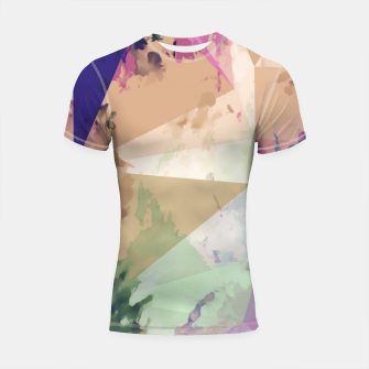 Miniature de image de psychedelic geometric triangle polygon pattern abstract in pink green brown blue Shortsleeve rashguard, Live Heroes