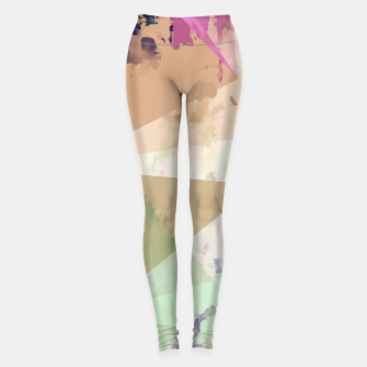 Miniature de image de psychedelic geometric triangle polygon pattern abstract in pink green brown blue Leggings, Live Heroes