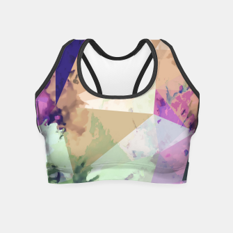 Miniature de image de psychedelic geometric triangle polygon pattern abstract in pink green brown blue Crop Top, Live Heroes