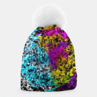 Miniaturka psychedelic graffiti painting abstract in pink yellow blue green Beanie, Live Heroes