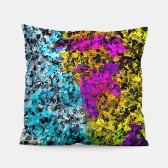 Miniaturka psychedelic graffiti painting abstract in pink yellow blue green Pillow, Live Heroes