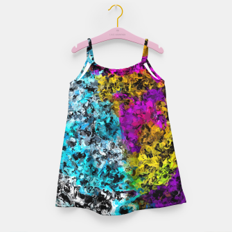 Miniaturka psychedelic graffiti painting abstract in pink yellow blue green Girl's dress, Live Heroes