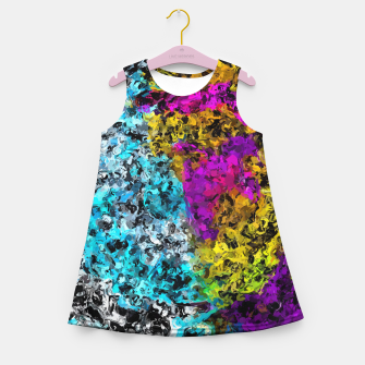 Miniaturka psychedelic graffiti painting abstract in pink yellow blue green Girl's summer dress, Live Heroes
