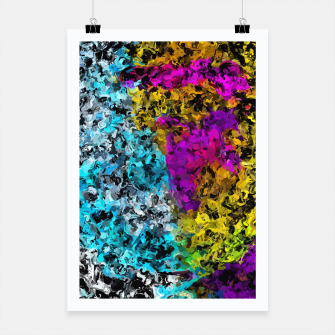 Miniaturka psychedelic graffiti painting abstract in pink yellow blue green Poster, Live Heroes