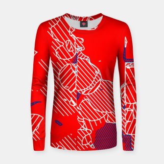 Miniaturka graffiti drawing and painting abstract in red and blue Women sweater, Live Heroes