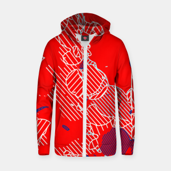 Miniaturka graffiti drawing and painting abstract in red and blue Zip up hoodie, Live Heroes