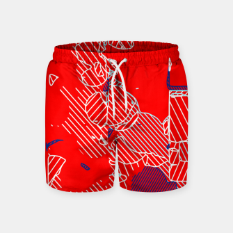 Miniaturka graffiti drawing and painting abstract in red and blue Swim Shorts, Live Heroes