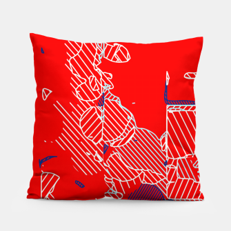 Miniaturka graffiti drawing and painting abstract in red and blue Pillow, Live Heroes