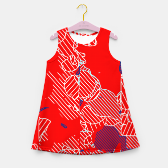 Miniaturka graffiti drawing and painting abstract in red and blue Girl's summer dress, Live Heroes