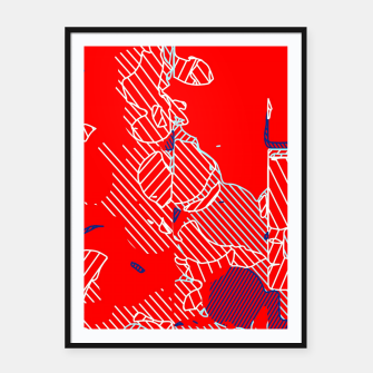 Miniaturka graffiti drawing and painting abstract in red and blue Framed poster, Live Heroes