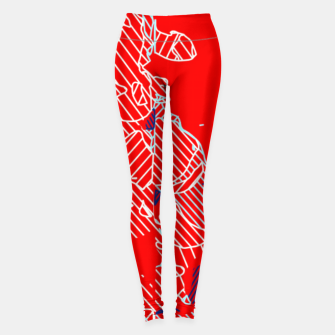 Miniaturka graffiti drawing and painting abstract in red and blue Leggings, Live Heroes
