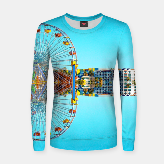 Miniaturka ferris wheel with buildings and blue sky Women sweater, Live Heroes
