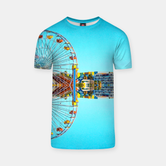 Miniaturka ferris wheel with buildings and blue sky T-shirt, Live Heroes