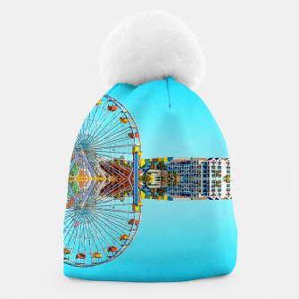 Miniaturka ferris wheel with buildings and blue sky Beanie, Live Heroes