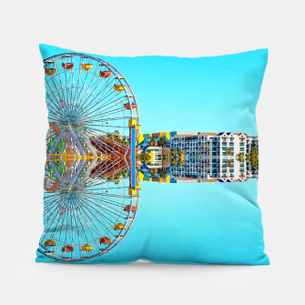 Miniaturka ferris wheel with buildings and blue sky Pillow, Live Heroes