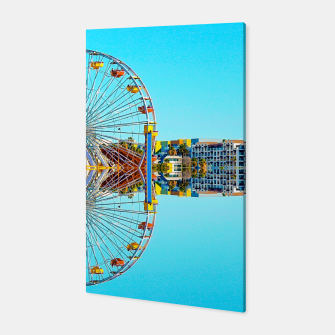 Miniaturka ferris wheel with buildings and blue sky Canvas, Live Heroes